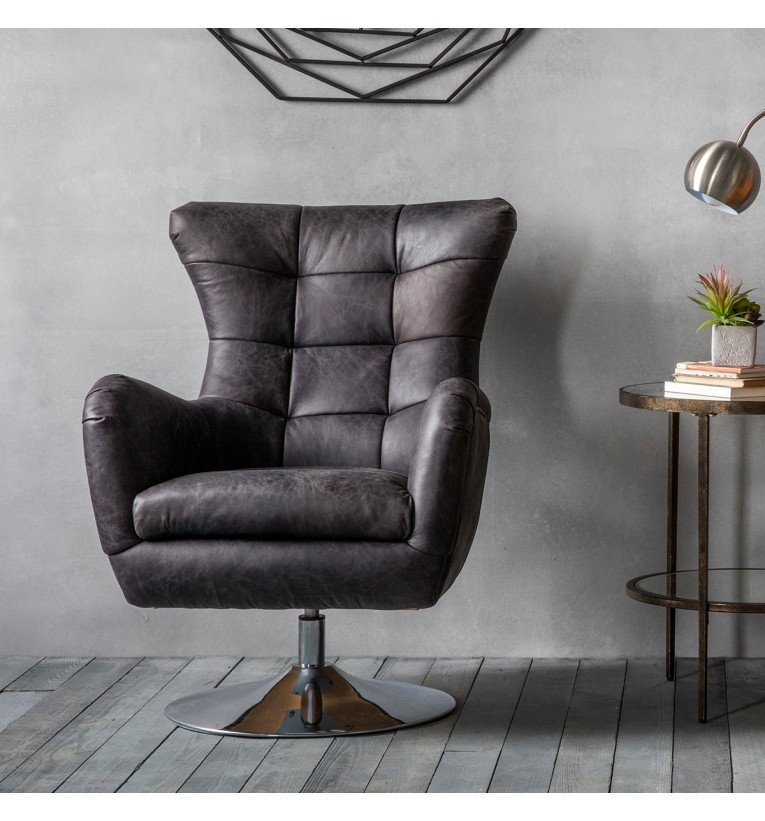Bristol Swivel Leather Chair Ebony My Vintage Home