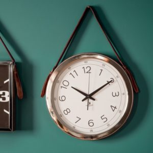 Yalding Clock with Faux Leather Strap