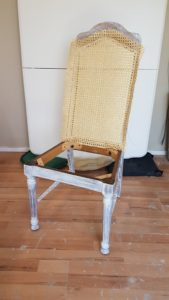 Inserting a new Rattan back into a chair