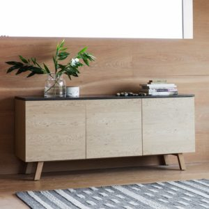 Brixton Burnished 3 Door 1 Drawer Sideboard