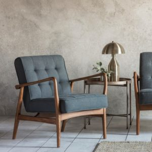 Humbe armchair dark grey linen