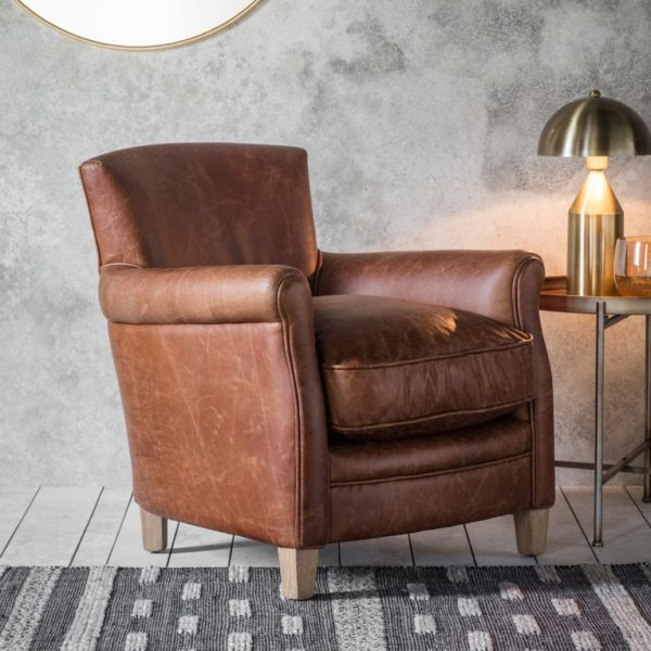 mr paaddington vintage brown leather chair