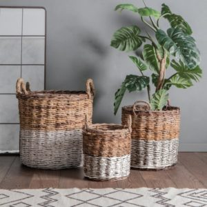 ramon set of 3 baskets white and natural