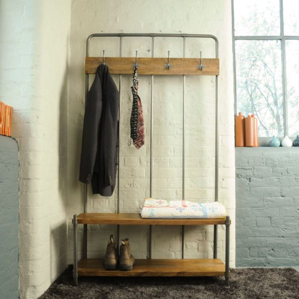 Industrial Re Engineered Hall Bench Coat Rack My Vintage Home