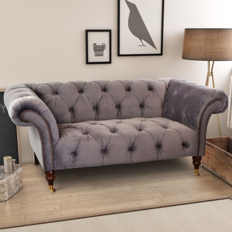 Ellie 2 Seater Chesterfield Sofa Grey My Vintage Home
