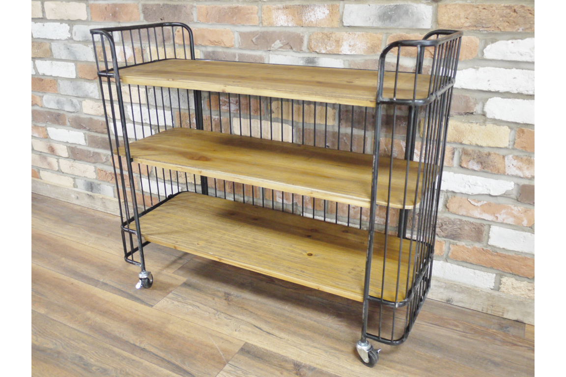 Industrial Style Shelves on Wheels.
