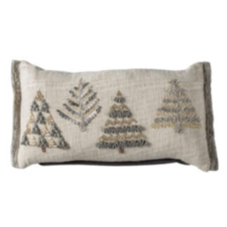 Fir Trees Embroidered Cushion Natural