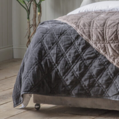 Quilted Diamond Bedspread Charcoal