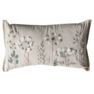 Amaryllis Embroidered Cushion Natural
