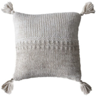 2 Tone Knitted Cushion Oatmeal Cream