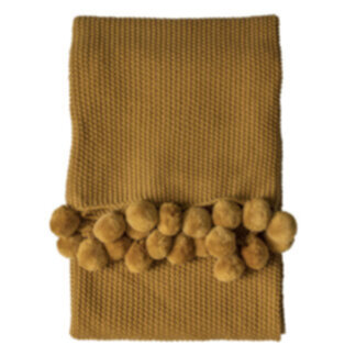 Moss Stitched Pom Pom Throw Ochre