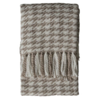 Houndstooth Woven Throw Oatmeal Cream