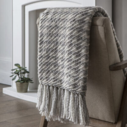 Houndstooth Woven Throw Grey Cream