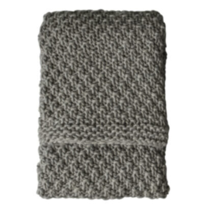 Moss Chunky Knitted Throw Grey