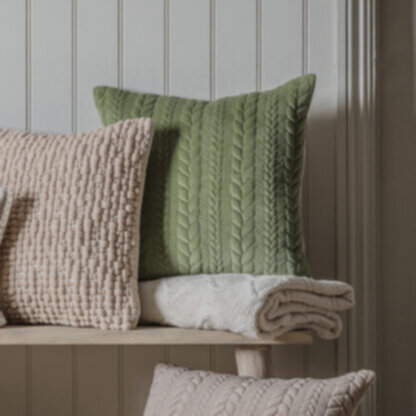 Chenille Embroidered Cushion Sage