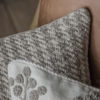 Houndstooth Knitted Cushion Oatmeal