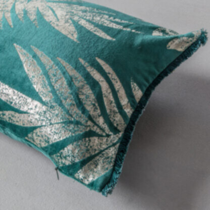 Velvet Metallic Leaves Cushion Teal