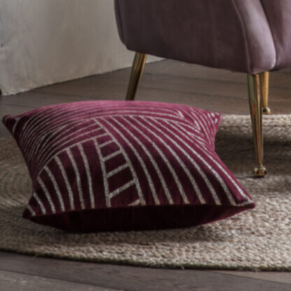 Velvet Linear Geo Cushion Claret