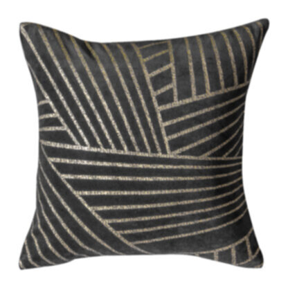 Velvet Linear Geo Cushion Grey