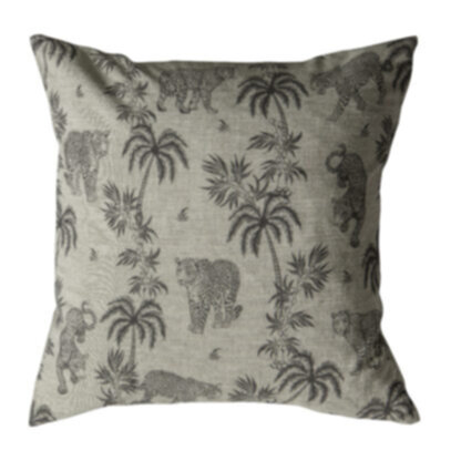 Palm Leopard Cushion Grey