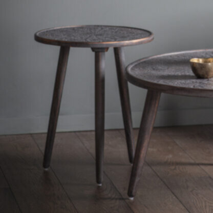 Agra Side Table Grey Copper
