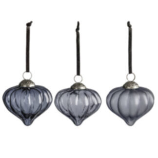 Percy Asstd Fluted Baubles Ice Blue Large (6pk)