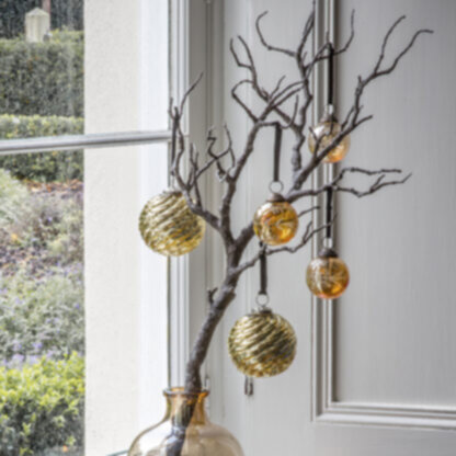 Lucie Etched Baubles Gold Large (6pk)