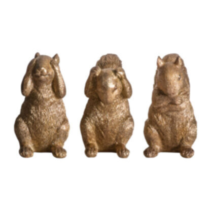 Three Wise Squirrels Gold Set of 3