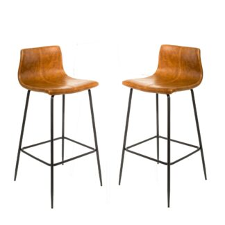 Barracuda Barstool Vegan Leather Tan SET OF 2