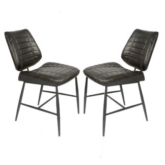 Cortina Vegan Leather Chair Grey SET OF 2