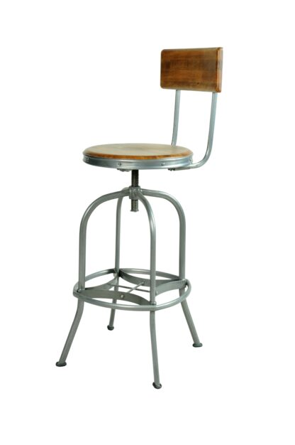Industrial Barstool with Back Rest