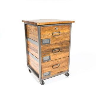 RE-Engineered 3 Drawer Lockable Filing Cabinet on Wheels