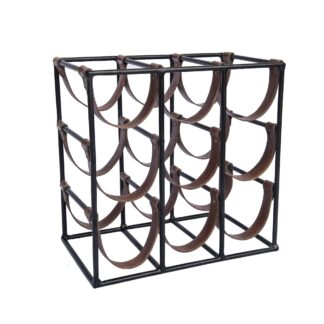 9 bottle leather sling square Wine Rack