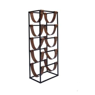 Tall  leather sling Wine Rack - 5 bottle