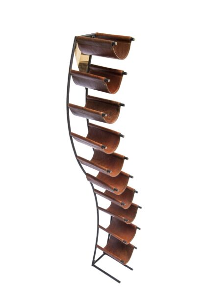 Curved leather sling Wine Rack