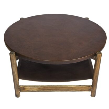 Leather sling Coffee Table - leather top