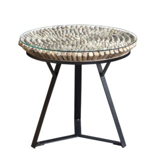 Driftwood Iona round lamp table