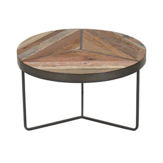KLEO Boatwood Round Rustic Coffee Table Small