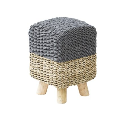 Stripy Square Basketweave Stool - Grey Top