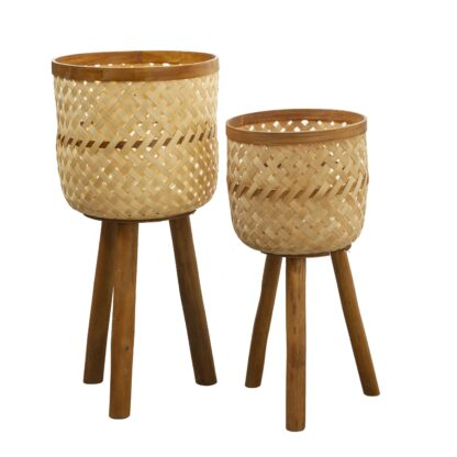 Bamboo and Rattan Planters- Set of 2