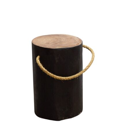 Natural Teak Root Round Black Stool with Rope