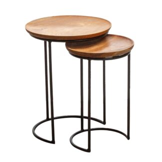 Natural Teak Root Industrial Round Nest of Tables
