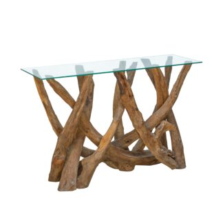 Branchwood Teak Console Table with Glass Top