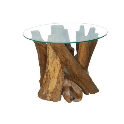 Branchwood Round Coffee Table with Glass Top