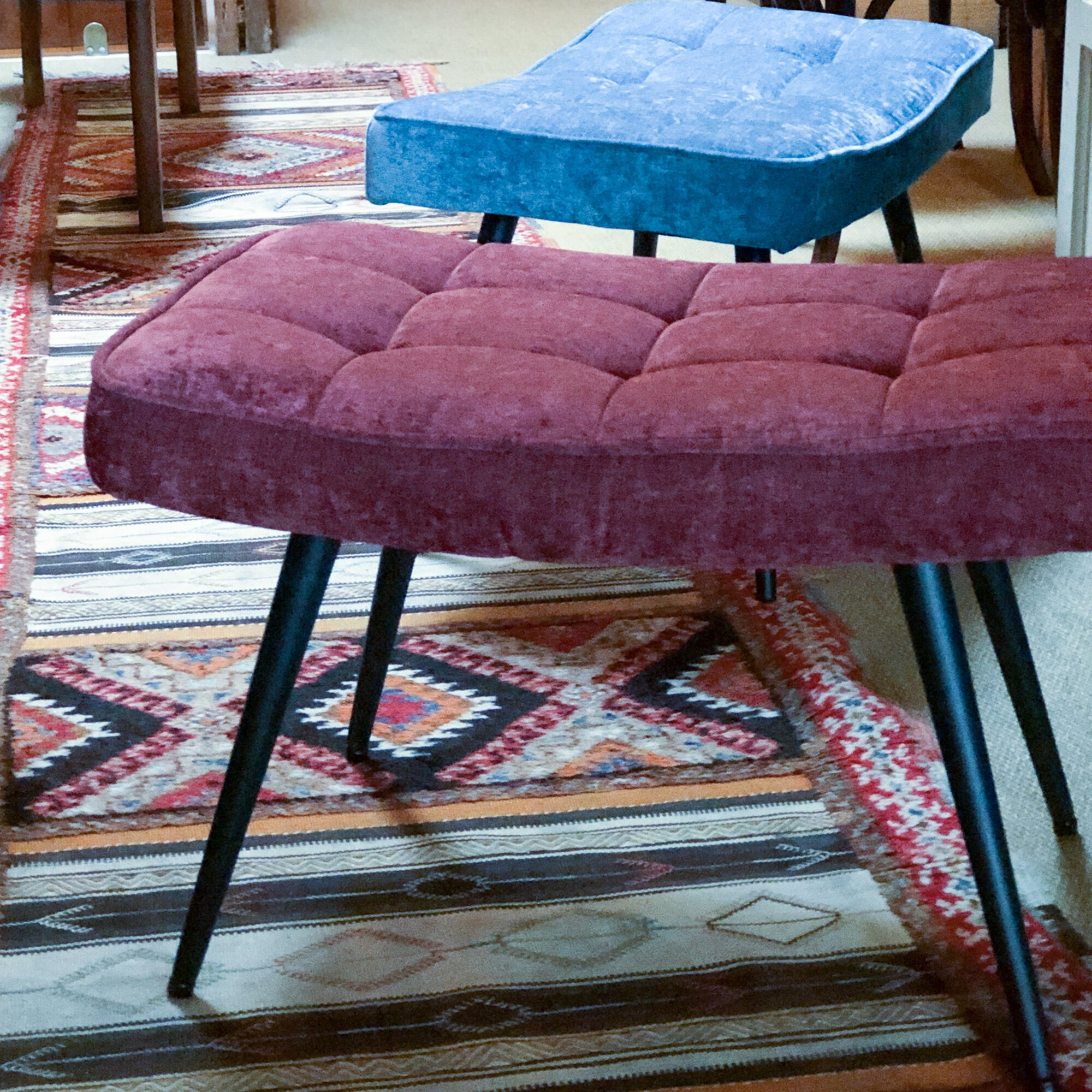Pinto Footstool - Chenille Berry