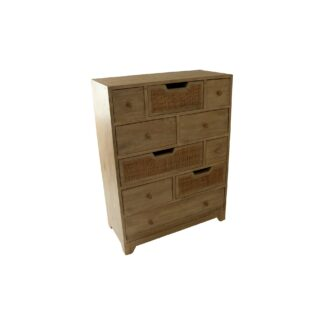 Rattan 10 Drawer Tall Multi Chest