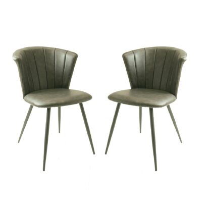 Shelby Dining Chair Vegan Leather Grey SET OF 2