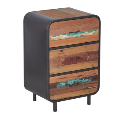 Reclaimed Industrial Retro 3 Drawer Side Table
