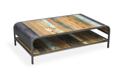 Reclaimed Industrial Coffee Table with Shelf