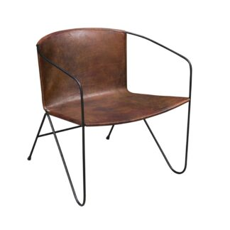 Rustic Leather Armchair in Brown